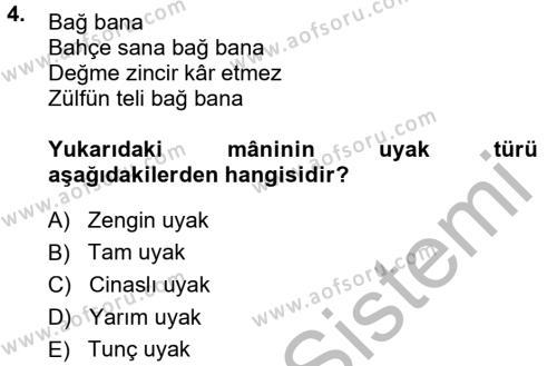 Türk Dili ve Edebiyatı Bölümü 1. Yarıyıl Halk Edebiyatına Giriş I Dersi 2015 Yılı Güz Dönemi Dönem Sonu Sınavı 4. Soru