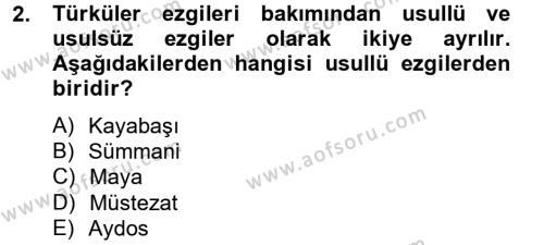 Halk Edebiyatına Giriş 2 Dersi 2012 - 2013 Yılı Dönem Sonu Sınavı 2. Soru