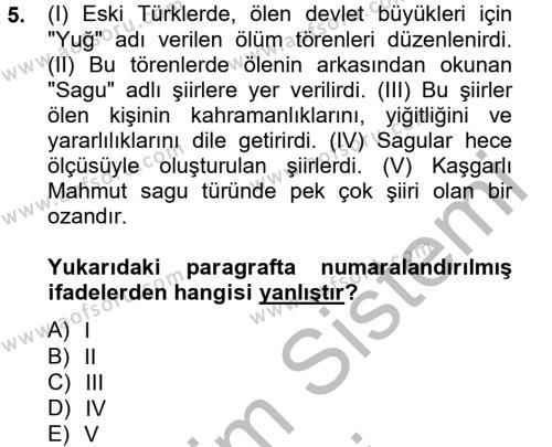 Türk Dili ve Edebiyatı Bölümü 2. Yarıyıl Halk Edebiyatına Giriş II Dersi 2013 Yılı Bahar Dönemi Dönem Sonu Sınavı 5. Soru