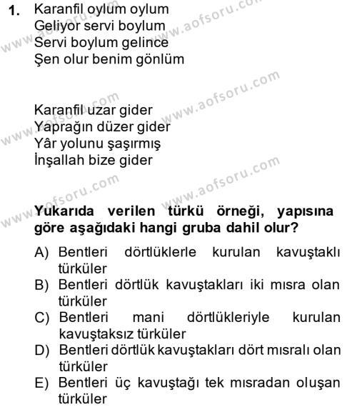 Türk Dili ve Edebiyatı Bölümü 2. Yarıyıl Halk Edebiyatına Giriş II Dersi 2015 Yılı Bahar Dönemi Ara Sınavı 1. Soru