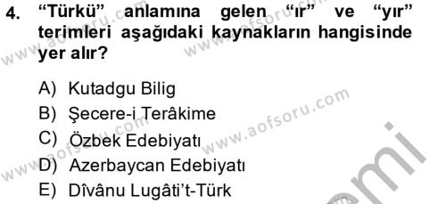 Türk Dili ve Edebiyatı Bölümü 2. Yarıyıl Halk Edebiyatına Giriş II Dersi 2015 Yılı Bahar Dönemi Ara Sınavı 4. Soru