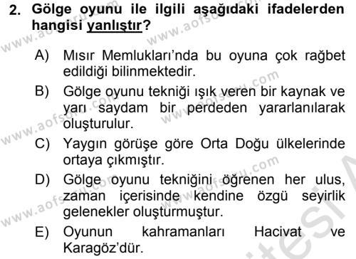 Halk Edebiyatına Giriş 2 Dersi 2015 - 2016 Yılı (Final) Dönem Sonu Sınav Soruları 2. Soru