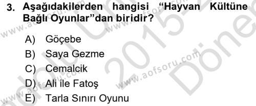 Halk Edebiyatına Giriş 2 Dersi 2015 - 2016 Yılı (Final) Dönem Sonu Sınav Soruları 3. Soru