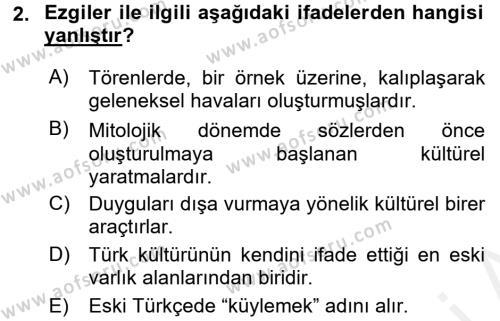 Halk Edebiyatına Giriş 2 Dersi 2017 - 2018 Yılı (Final) Dönem Sonu Sınav Soruları 2. Soru