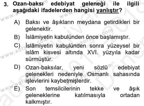 Halk Edebiyatına Giriş 2 Dersi 2017 - 2018 Yılı (Final) Dönem Sonu Sınav Soruları 3. Soru