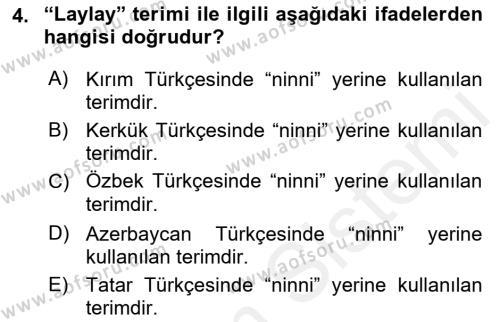 Halk Edebiyatına Giriş 2 Dersi 2018 - 2019 Yılı (Vize) Ara Sınav Soruları 4. Soru