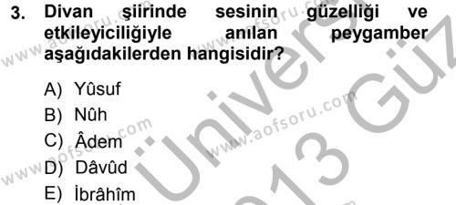 Eski Türk Edebiyatına Giriş: Biçim ve Ölçü Dersi 2012 - 2013 Yılı (Vize) Ara Sınav Soruları 3. Soru