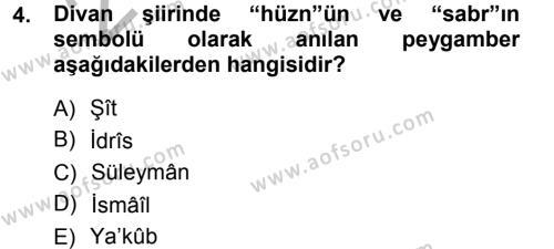Eski Türk Edebiyatına Giriş: Biçim ve Ölçü Dersi 2012 - 2013 Yılı (Vize) Ara Sınav Soruları 4. Soru