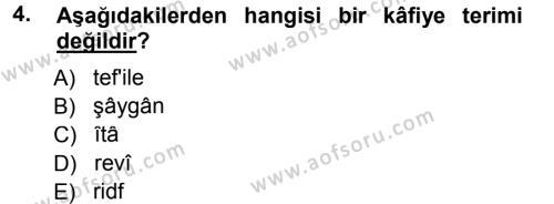 Eski Türk Edebiyatına Giriş: Biçim ve Ölçü Dersi 2012 - 2013 Yılı Dönem Sonu Sınavı 4. Soru