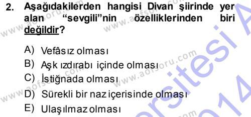 Eski Türk Edebiyatına Giriş: Biçim ve Ölçü Dersi 2013 - 2014 Yılı (Final) Dönem Sonu Sınav Soruları 2. Soru
