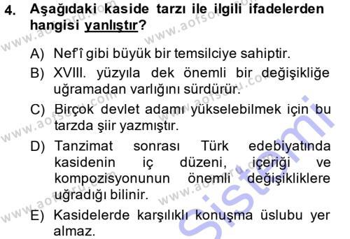 Eski Türk Edebiyatına Giriş: Biçim ve Ölçü Dersi 2013 - 2014 Yılı (Final) Dönem Sonu Sınav Soruları 4. Soru