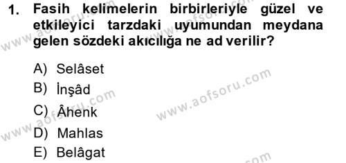 Eski Türk Edebiyatına Giriş: Biçim ve Ölçü Dersi 2014 - 2015 Yılı Dönem Sonu Sınavı 1. Soru