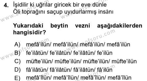 Eski Türk Edebiyatına Giriş: Biçim ve Ölçü Dersi 2015 - 2016 Yılı (Final) Dönem Sonu Sınav Soruları 4. Soru