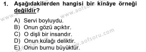 Eski Türk Edebiyatına Giriş: Söz Sanatları Dersi 2012 - 2013 Yılı Ara Sınavı 1. Soru