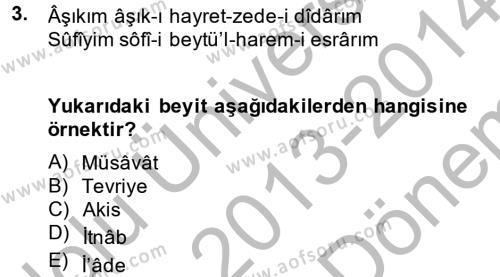 Eski Türk Edebiyatına Giriş: Söz Sanatları Dersi 2013 - 2014 Yılı (Final) Dönem Sonu Sınav Soruları 3. Soru