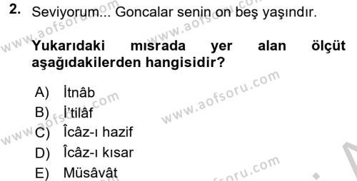 Eski Türk Edebiyatına Giriş: Söz Sanatları Dersi 2016 - 2017 Yılı (Vize) Ara Sınav Soruları 2. Soru