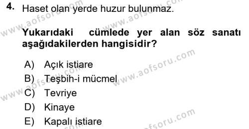 Eski Türk Edebiyatına Giriş: Söz Sanatları Dersi 2016 - 2017 Yılı (Vize) Ara Sınav Soruları 4. Soru