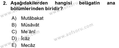 Eski Türk Edebiyatına Giriş: Söz Sanatları Dersi 2016 - 2017 Yılı (Final) Dönem Sonu Sınav Soruları 2. Soru