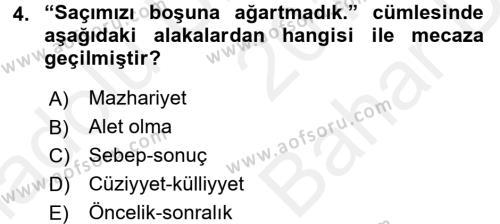 Eski Türk Edebiyatına Giriş: Söz Sanatları Dersi 2017 - 2018 Yılı (Vize) Ara Sınav Soruları 4. Soru