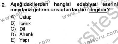 Batı Edebiyatında Akımlar 1 Dersi 2012 - 2013 Yılı (Vize) Ara Sınav Soruları 2. Soru