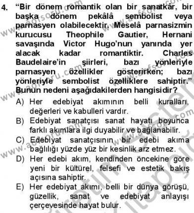 Batı Edebiyatında Akımlar 1 Dersi 2012 - 2013 Yılı (Vize) Ara Sınav Soruları 4. Soru