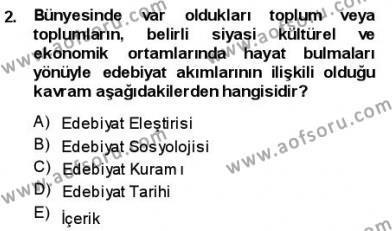 Batı Edebiyatında Akımlar 1 Dersi 2013 - 2014 Yılı (Vize) Ara Sınav Soruları 2. Soru