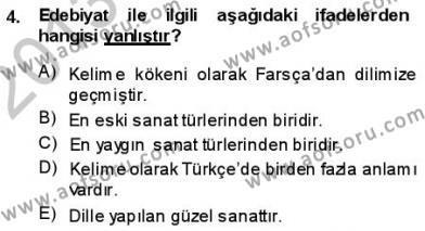 Batı Edebiyatında Akımlar 1 Dersi 2013 - 2014 Yılı (Vize) Ara Sınav Soruları 4. Soru