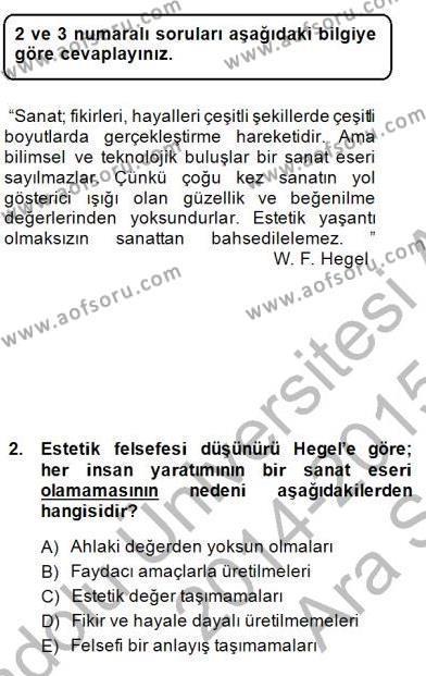 Batı Edebiyatında Akımlar 1 Dersi 2014 - 2015 Yılı (Vize) Ara Sınav Soruları 2. Soru