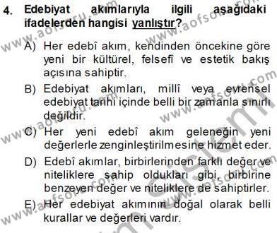 Batı Edebiyatında Akımlar 1 Dersi 2014 - 2015 Yılı (Vize) Ara Sınav Soruları 4. Soru
