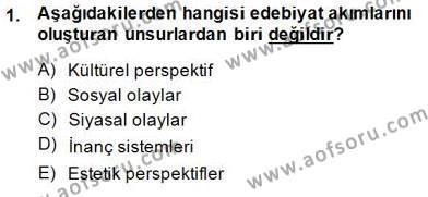 Batı Edebiyatında Akımlar 1 Dersi 2014 - 2015 Yılı Dönem Sonu Sınavı 1. Soru