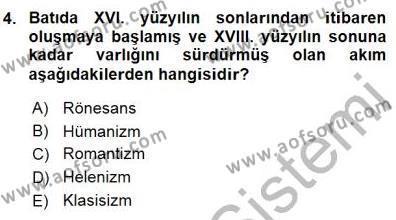 Batı Edebiyatında Akımlar 1 Dersi 2015 - 2016 Yılı Dönem Sonu Sınavı 4. Soru