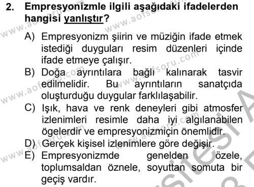 Türk Dili ve Edebiyatı Bölümü 2. Yarıyıl Batı Edebiyatında Akımlar II Dersi 2013 Yılı Bahar Dönemi Ara Sınavı 2. Soru