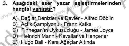 Türk Dili ve Edebiyatı Bölümü 2. Yarıyıl Batı Edebiyatında Akımlar II Dersi 2013 Yılı Bahar Dönemi Ara Sınavı 3. Soru