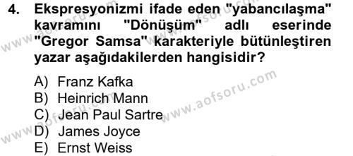 Türk Dili ve Edebiyatı Bölümü 2. Yarıyıl Batı Edebiyatında Akımlar II Dersi 2013 Yılı Bahar Dönemi Ara Sınavı 4. Soru