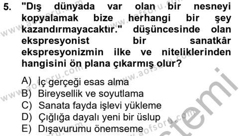 Türk Dili ve Edebiyatı Bölümü 2. Yarıyıl Batı Edebiyatında Akımlar II Dersi 2013 Yılı Bahar Dönemi Ara Sınavı 5. Soru