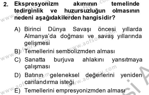 Türk Dili ve Edebiyatı Bölümü 2. Yarıyıl Batı Edebiyatında Akımlar II Dersi 2014 Yılı Bahar Dönemi Ara Sınavı 2. Soru