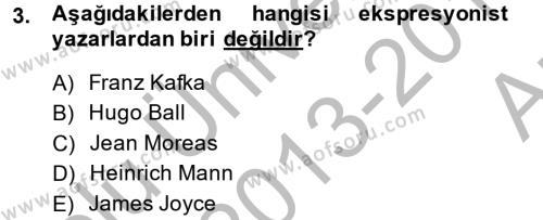 Türk Dili ve Edebiyatı Bölümü 2. Yarıyıl Batı Edebiyatında Akımlar II Dersi 2014 Yılı Bahar Dönemi Ara Sınavı 3. Soru
