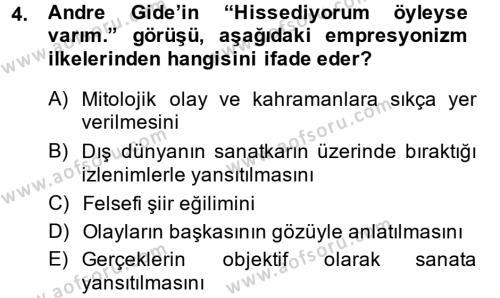 Türk Dili ve Edebiyatı Bölümü 2. Yarıyıl Batı Edebiyatında Akımlar II Dersi 2014 Yılı Bahar Dönemi Ara Sınavı 4. Soru