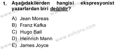 Batı Edebiyatında Akımlar 2 Dersi 2013 - 2014 Yılı (Final) Dönem Sonu Sınav Soruları 1. Soru