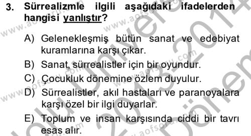 Batı Edebiyatında Akımlar 2 Dersi 2013 - 2014 Yılı (Final) Dönem Sonu Sınav Soruları 3. Soru