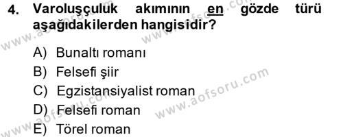 Batı Edebiyatında Akımlar 2 Dersi 2013 - 2014 Yılı (Final) Dönem Sonu Sınav Soruları 4. Soru