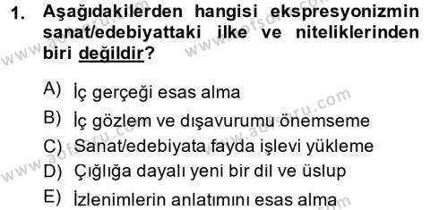 Türk Dili ve Edebiyatı Bölümü 2. Yarıyıl Batı Edebiyatında Akımlar II Dersi 2015 Yılı Bahar Dönemi Dönem Sonu Sınavı 1. Soru