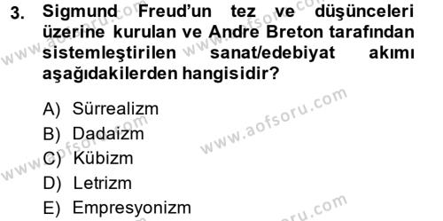 Batı Edebiyatında Akımlar 2 Dersi 2014 - 2015 Yılı (Final) Dönem Sonu Sınav Soruları 3. Soru