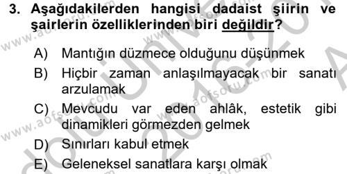 Batı Edebiyatında Akımlar 2 Dersi 2016 - 2017 Yılı (Vize) Ara Sınav Soruları 3. Soru