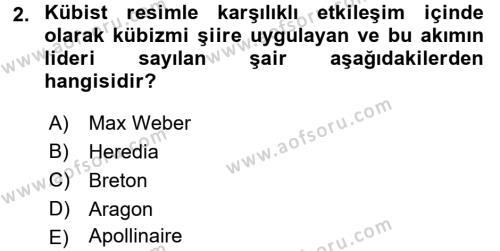 Batı Edebiyatında Akımlar 2 Dersi 2016 - 2017 Yılı (Final) Dönem Sonu Sınav Soruları 2. Soru