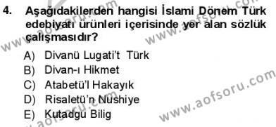 Türk Dili ve Edebiyatı Bölümü 1. Yarıyıl Yeni Türk Edebiyatına Giriş I Dersi 2013 Yılı Güz Dönemi Ara Sınavı 4. Soru