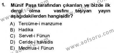 Yeni Türk Edebiyatına Giriş 1 Dersi 2012 - 2013 Yılı (Final) Dönem Sonu Sınav Soruları 1. Soru