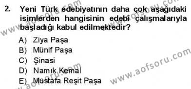 Yeni Türk Edebiyatına Giriş 1 Dersi 2012 - 2013 Yılı (Final) Dönem Sonu Sınav Soruları 2. Soru