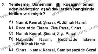 Türk Dili ve Edebiyatı Bölümü 1. Yarıyıl Yeni Türk Edebiyatına Giriş I Dersi 2014 Yılı Güz Dönemi Ara Sınavı 2. Soru
