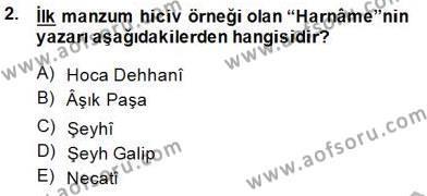 Türk Dili ve Edebiyatı Bölümü 1. Yarıyıl Yeni Türk Edebiyatına Giriş I Dersi 2015 Yılı Güz Dönemi Ara Sınavı 2. Soru